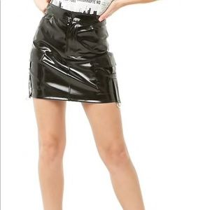 Patent leather cargo skirt